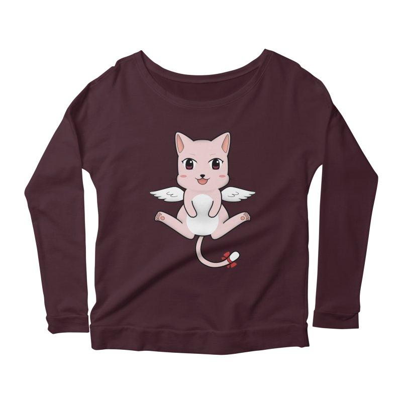 Flying pink cat Women's Scoop Neck Longsleeve T-Shirt by Shadee's cute shop