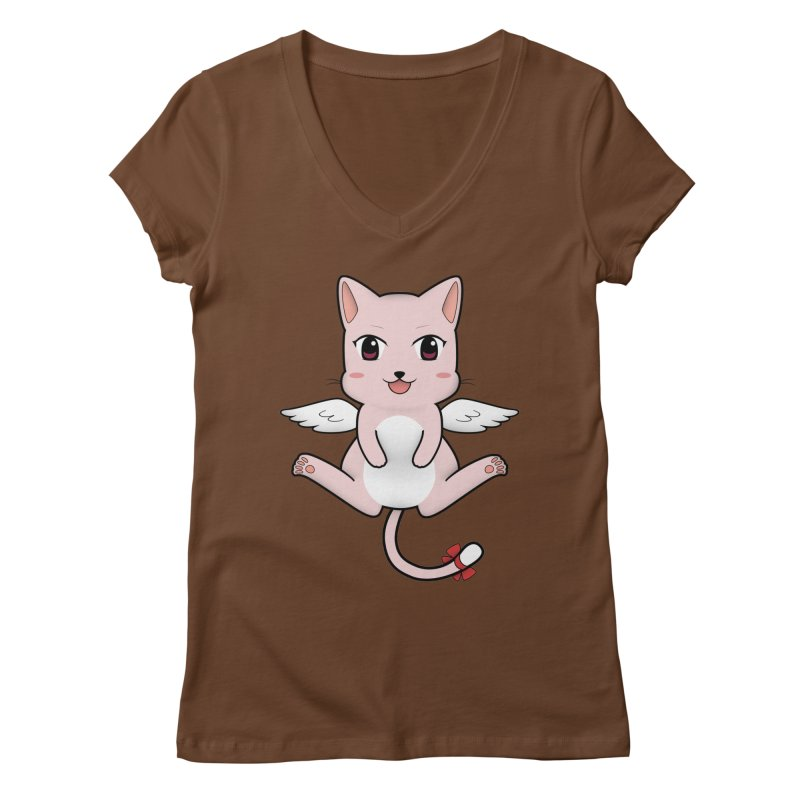Flying pink cat Women's Regular V-Neck by Shadee's cute shop