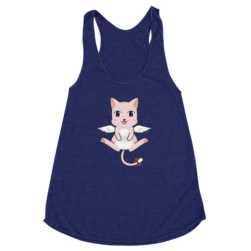 Flying pink cat Women's Racerback Triblend Tank by Shadee's cute shop