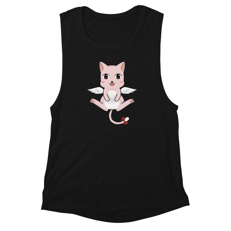 Flying pink cat Women's Muscle Tank by Shadee's cute shop