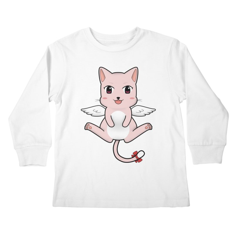 Flying pink cat Kids Longsleeve T-Shirt by Shadee's cute shop