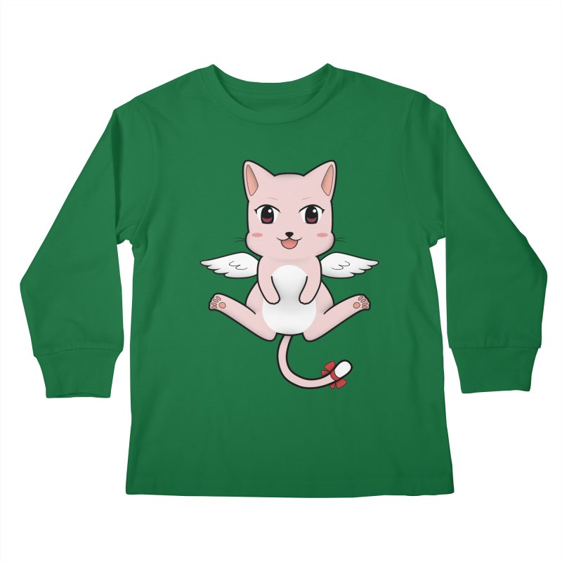 Flying pink cat Kids Longsleeve T-Shirt by Shadee's cute shop