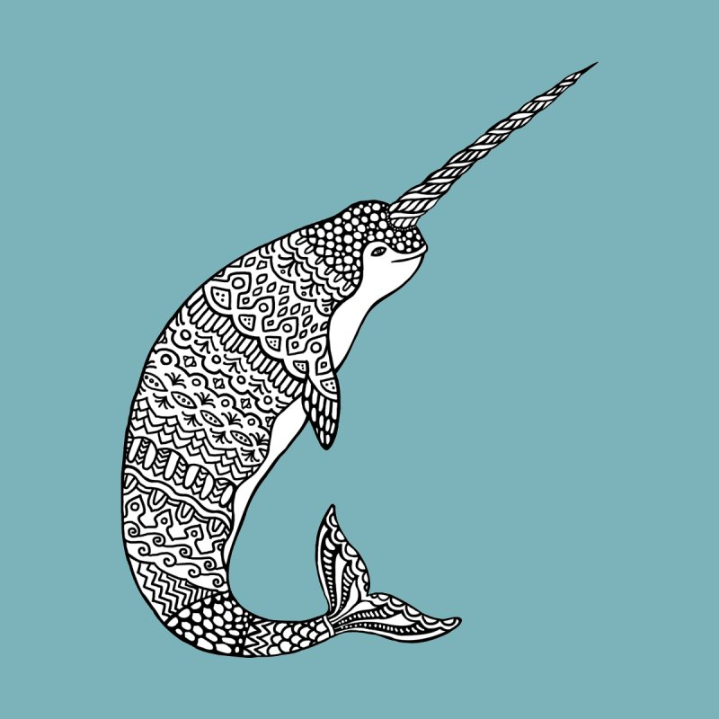 Narwhal Home Stretched Canvas by ShadoBado Artist Shop