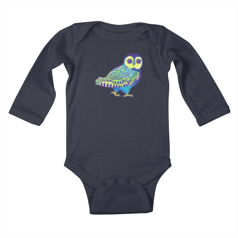 Owl Kids Baby Longsleeve Bodysuit by ShadoBado Artist Shop