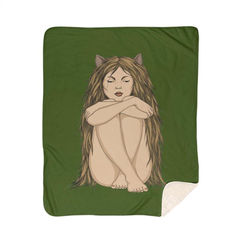 Cat Home Sherpa Blanket Blanket by ShadoBado Artist Shop