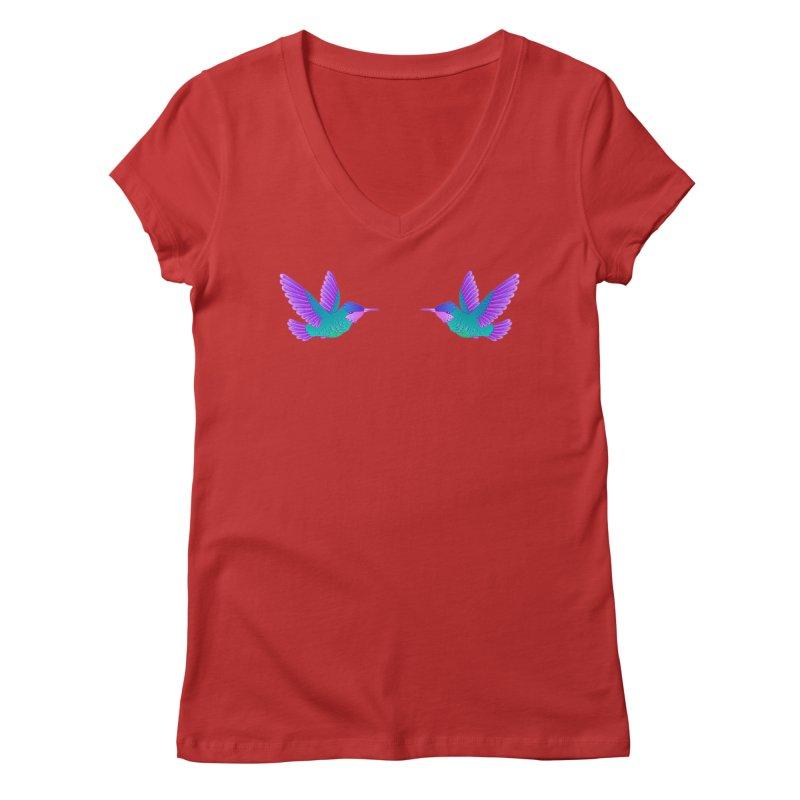 Hummingbirds Women's Regular V-Neck by ShadoBado Artist Shop