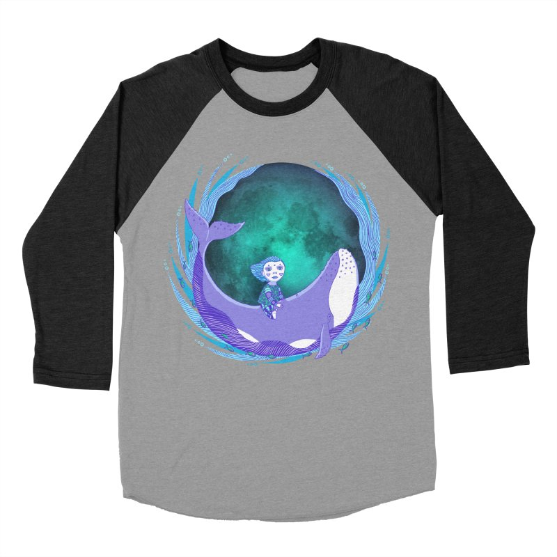Riding the whale Women's Baseball Triblend Longsleeve T-Shirt by ShadoBado Artist Shop
