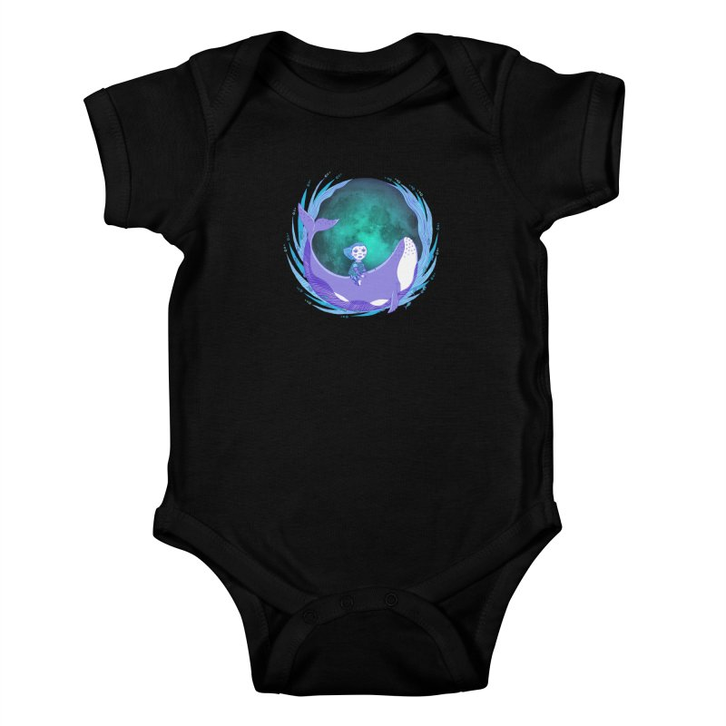 Riding the whale Kids Baby Bodysuit by ShadoBado Artist Shop