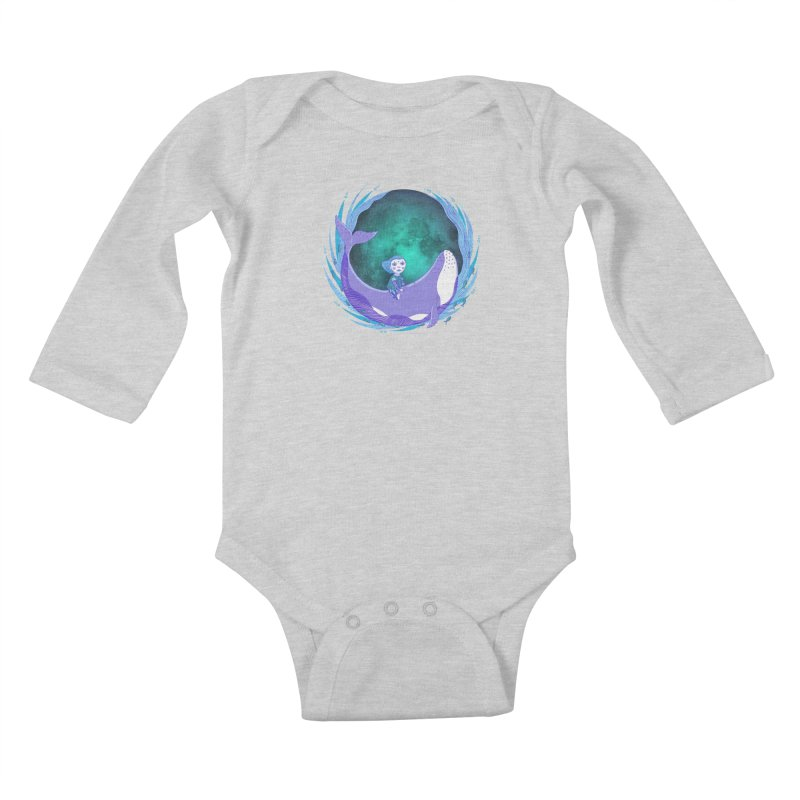 Riding the whale Kids Baby Longsleeve Bodysuit by ShadoBado Artist Shop