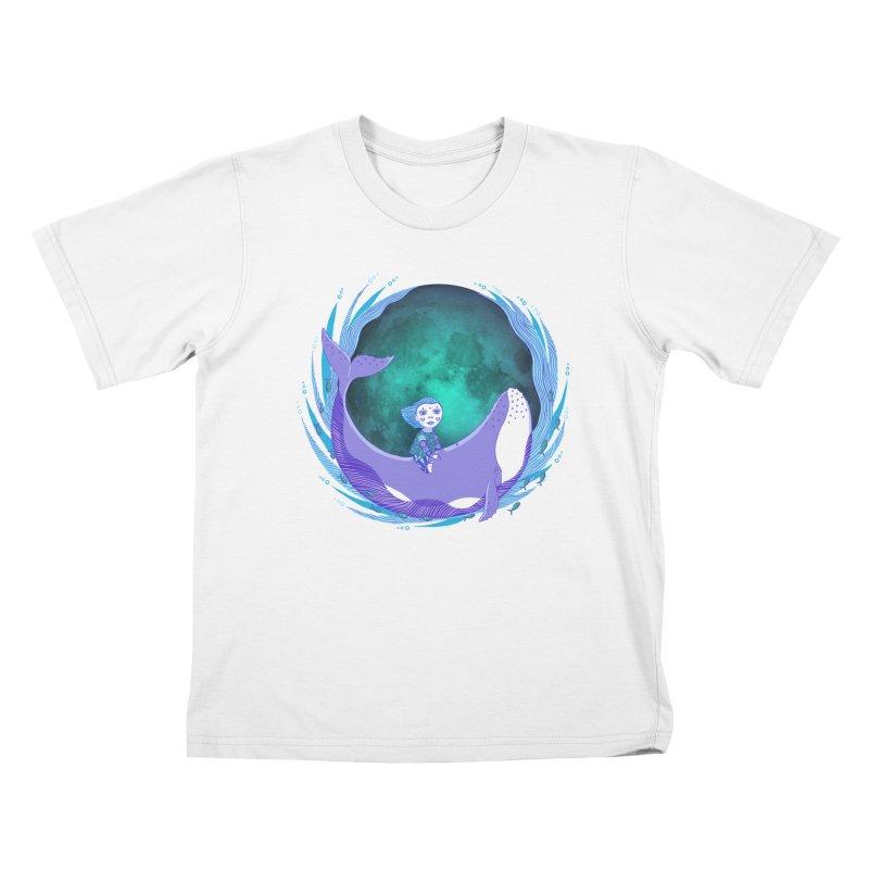 Riding the whale Kids T-Shirt by ShadoBado Artist Shop