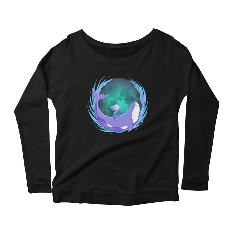 Riding the whale Women's Scoop Neck Longsleeve T-Shirt by ShadoBado Artist Shop