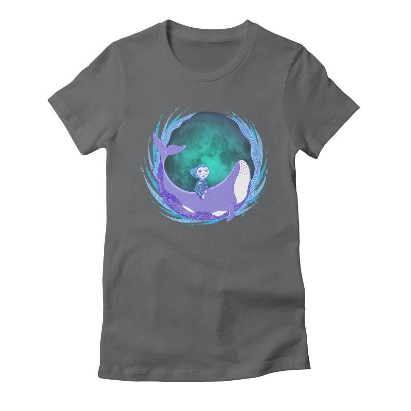 Riding the whale Women's Fitted T-Shirt by ShadoBado Artist Shop