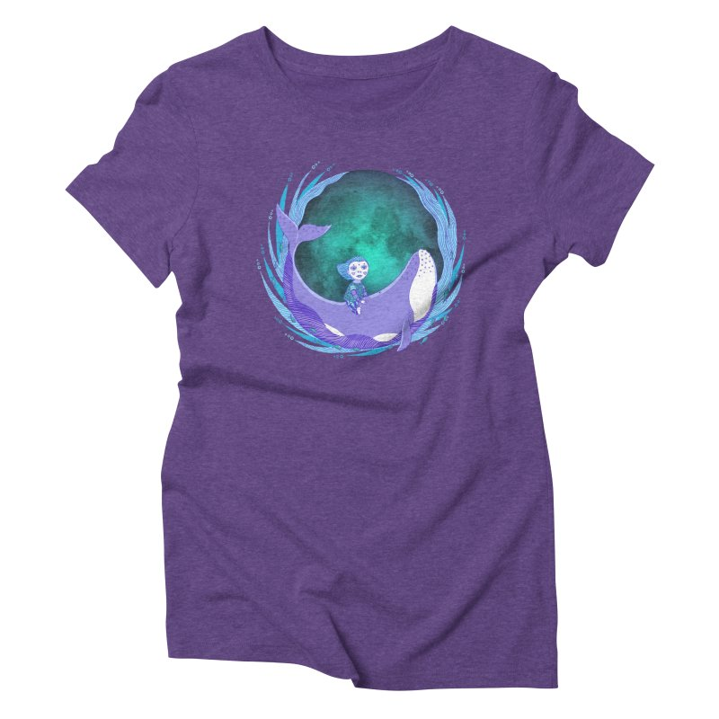 Riding the whale Women's Triblend T-Shirt by ShadoBado Artist Shop