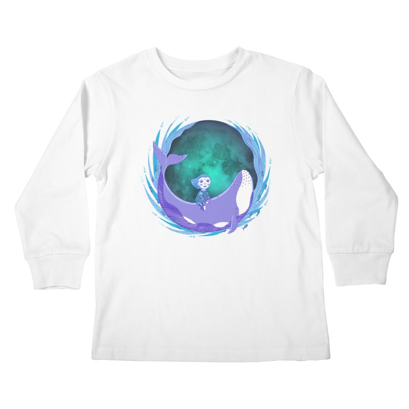 Riding the whale Kids Longsleeve T-Shirt by ShadoBado Artist Shop