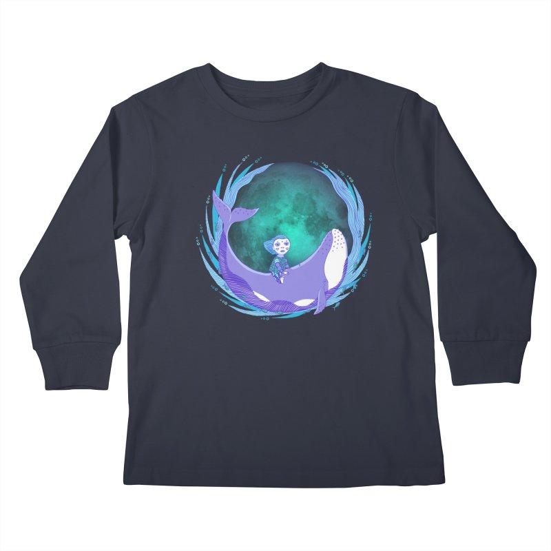 Riding the whale Kids Longsleeve T-Shirt by ShadoBado Artist Shop