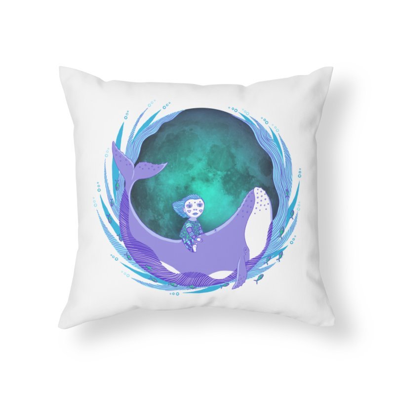 Riding the whale Home Throw Pillow by ShadoBado Artist Shop