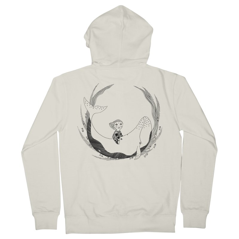 Riding the whale2 Men's French Terry Zip-Up Hoody by ShadoBado Artist Shop