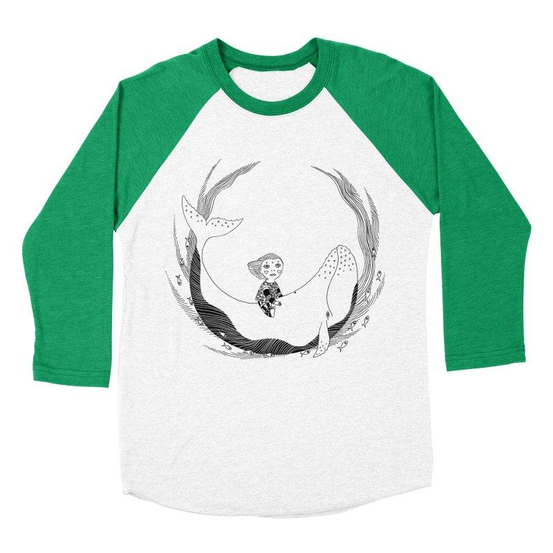 Riding the whale2 Women's Baseball Triblend Longsleeve T-Shirt by ShadoBado Artist Shop
