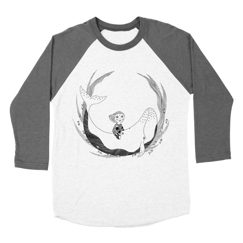 Riding the whale2 Men's Baseball Triblend Longsleeve T-Shirt by ShadoBado Artist Shop