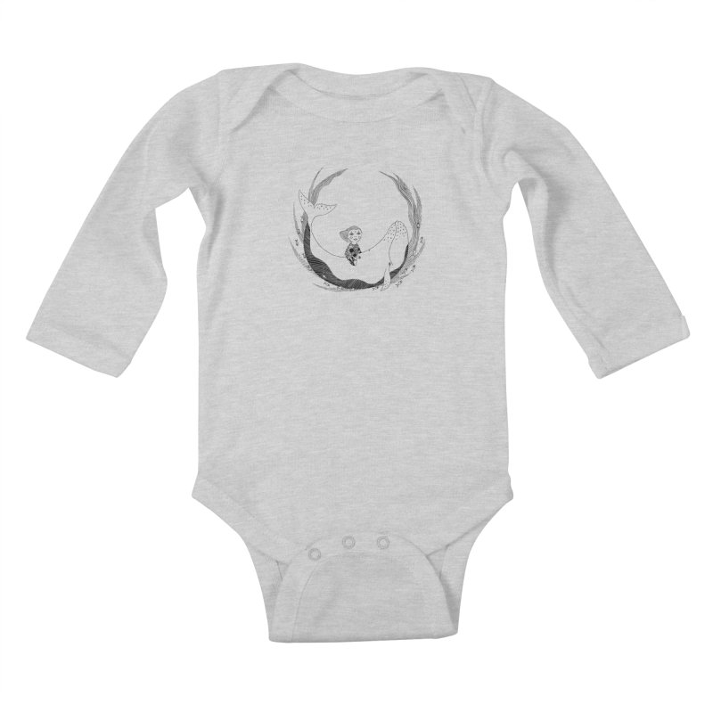 Riding the whale2 Kids Baby Longsleeve Bodysuit by ShadoBado Artist Shop