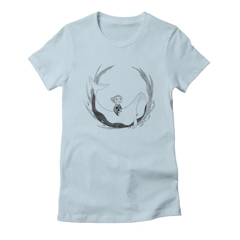 Riding the whale2 Women's T-Shirt by ShadoBado Artist Shop
