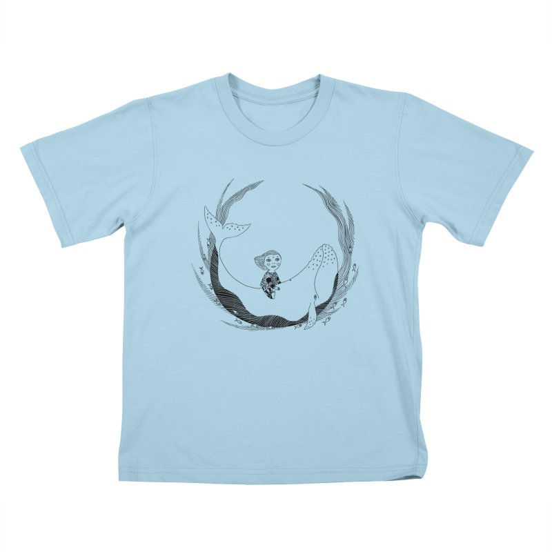 Riding the whale2 Kids T-Shirt by ShadoBado Artist Shop