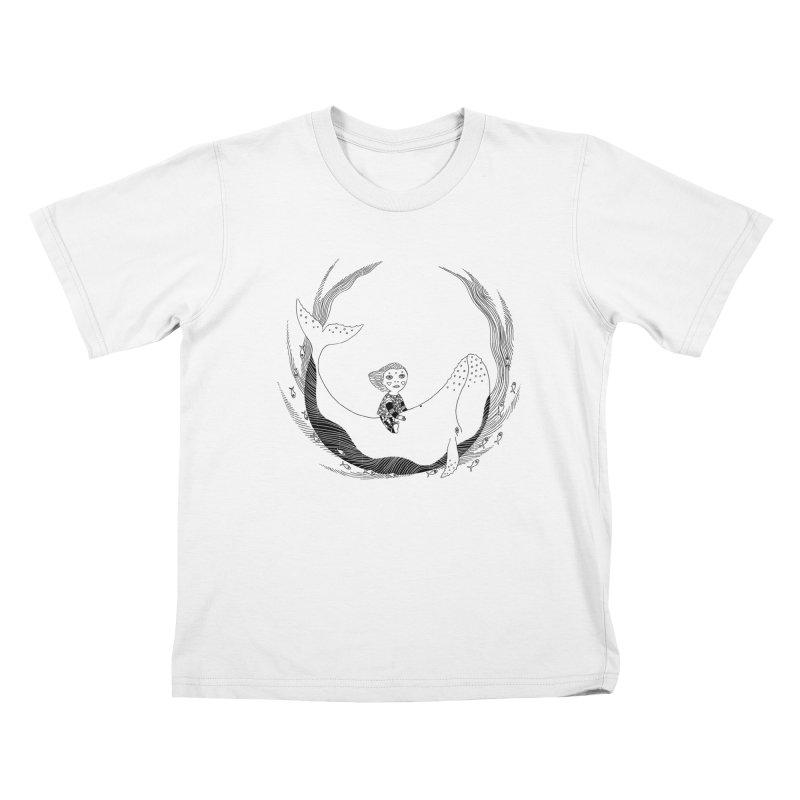 Riding the whale2 Kids T-Shirt by ShadoBado Artist Shop