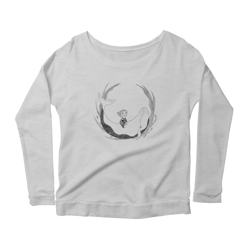 Riding the whale2 Women's Scoop Neck Longsleeve T-Shirt by ShadoBado Artist Shop
