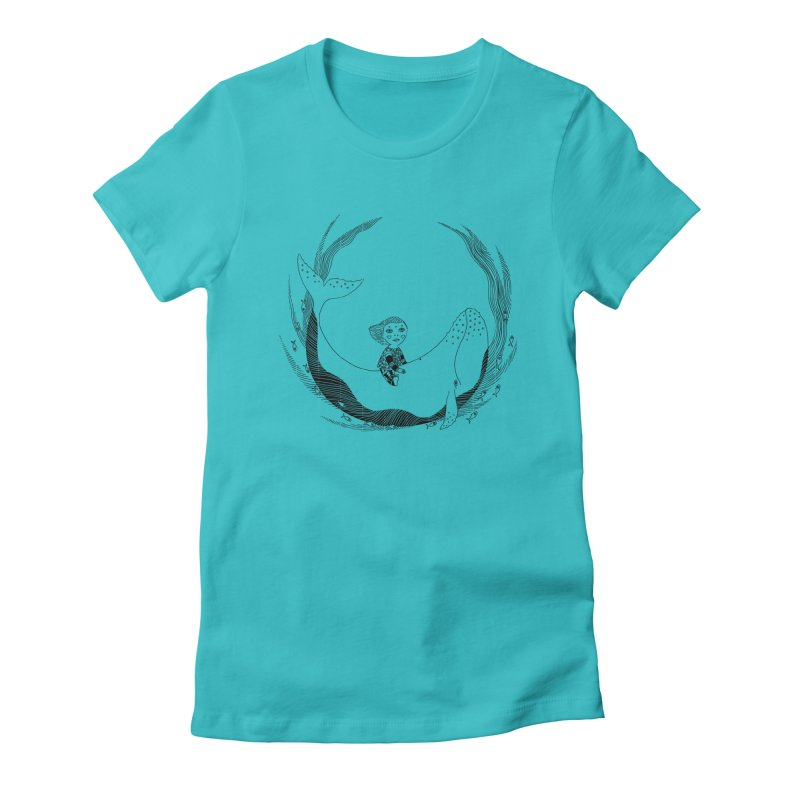 Riding the whale2 Women's Fitted T-Shirt by ShadoBado Artist Shop
