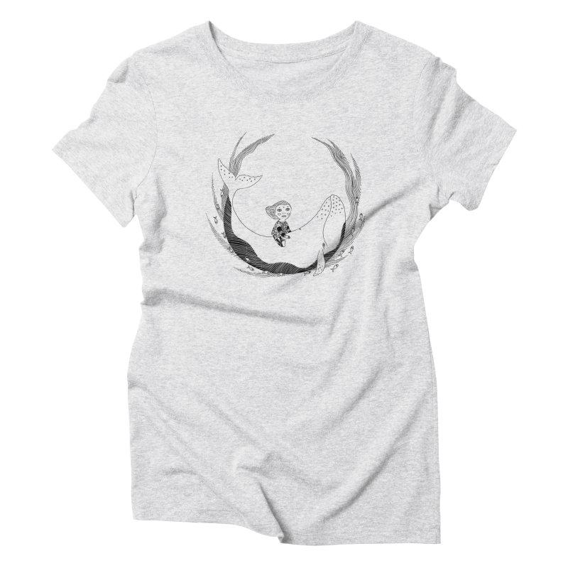 Riding the whale2 Women's Triblend T-Shirt by ShadoBado Artist Shop