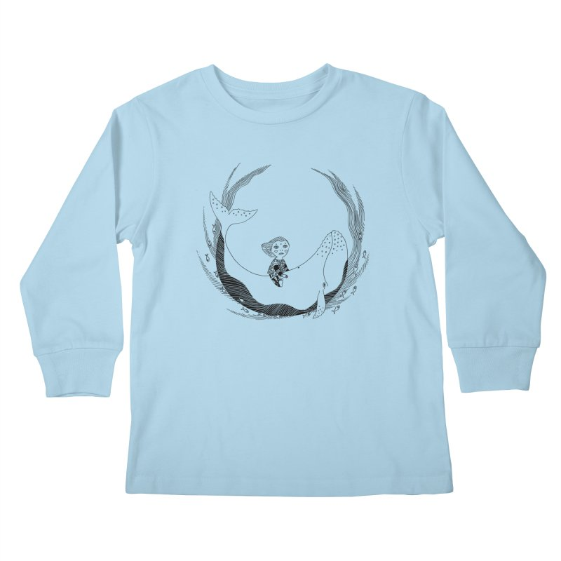 Riding the whale2 Kids Longsleeve T-Shirt by ShadoBado Artist Shop