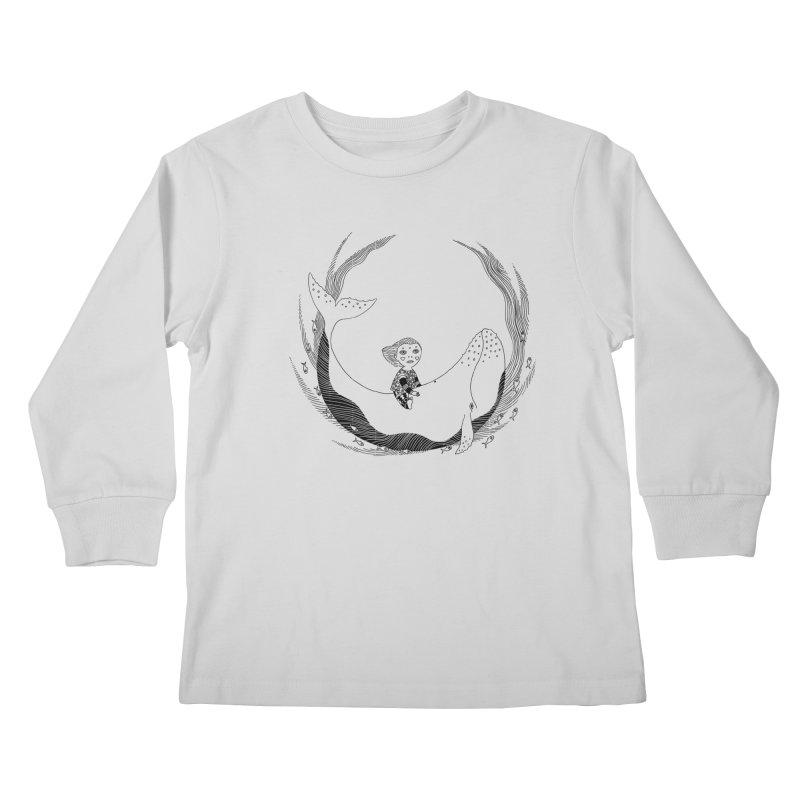Riding the whale2 Kids Longsleeve T-Shirt by ShadoBado Artist Shop