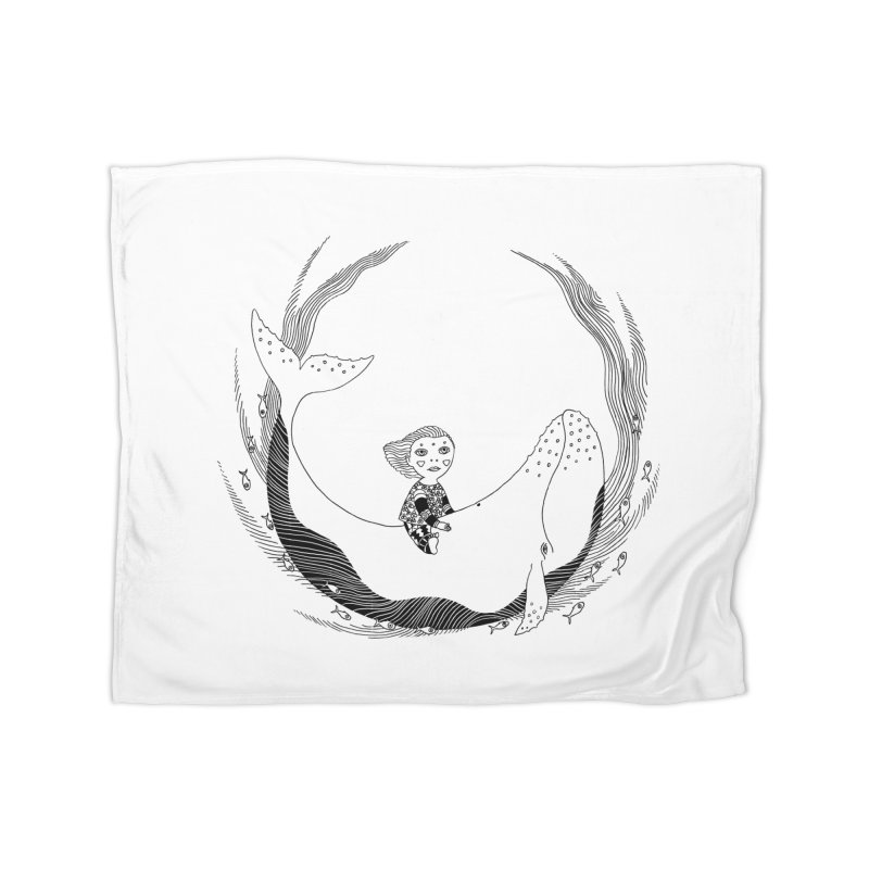 Riding the whale2 Home Fleece Blanket Blanket by ShadoBado Artist Shop