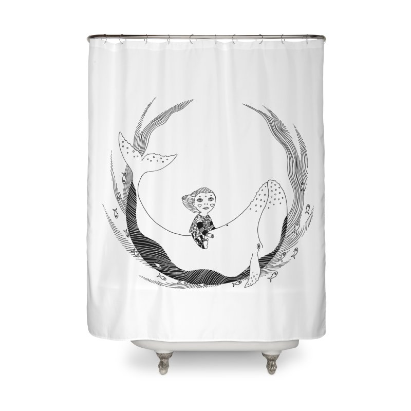 Riding the whale2 Home Shower Curtain by ShadoBado Artist Shop