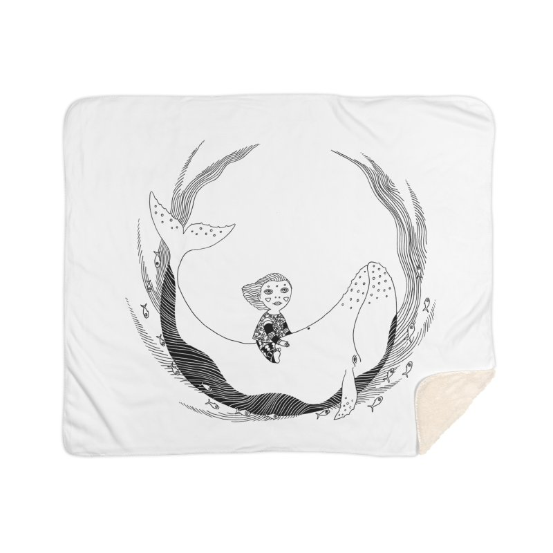 Riding the whale2 Home Sherpa Blanket Blanket by ShadoBado Artist Shop