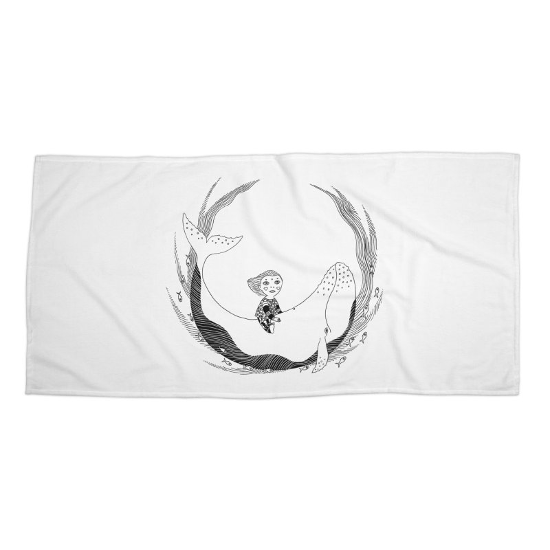 Riding the whale2 Accessories Beach Towel by ShadoBado Artist Shop