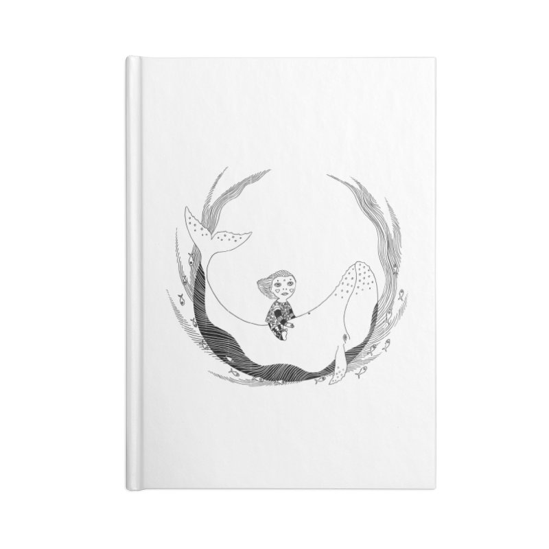 Riding the whale2 Accessories Lined Journal Notebook by ShadoBado Artist Shop