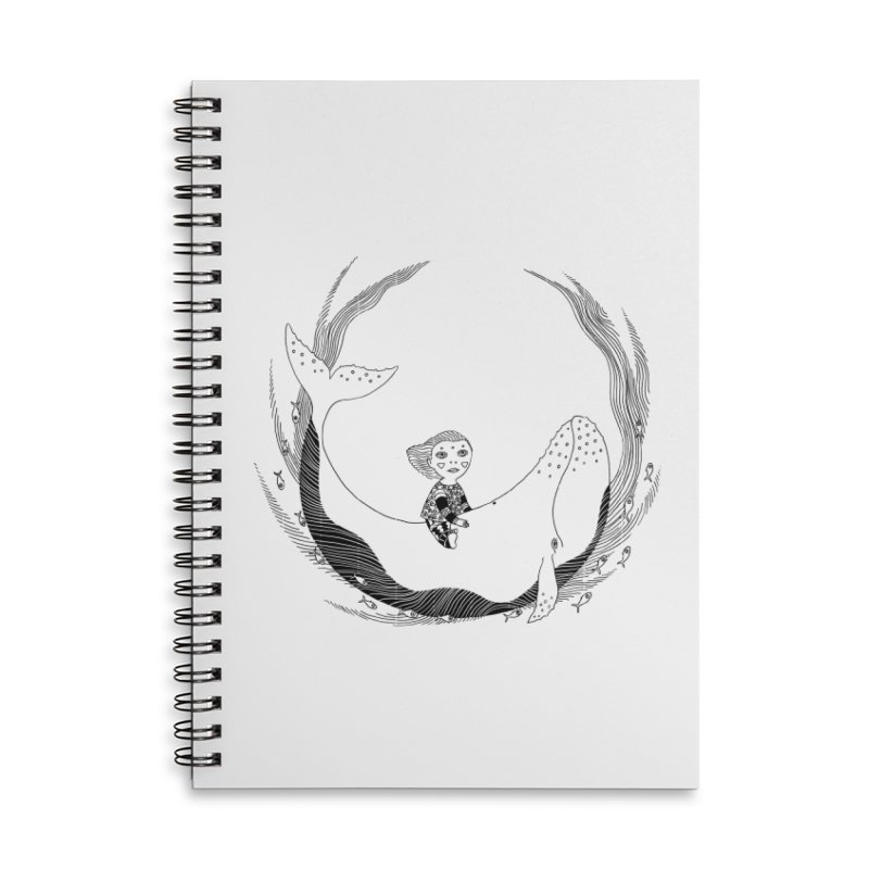 Riding the whale2 Accessories Lined Spiral Notebook by ShadoBado Artist Shop