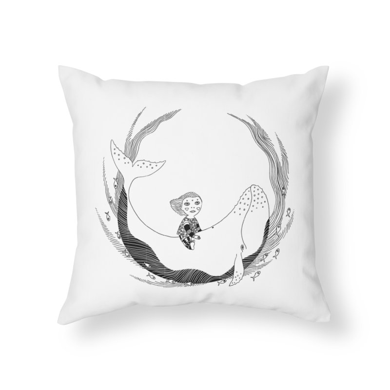 Riding the whale2 Home Throw Pillow by ShadoBado Artist Shop