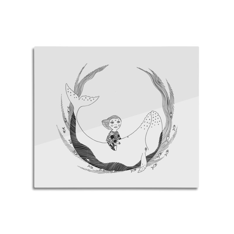 Riding the whale2 Home Mounted Aluminum Print by ShadoBado Artist Shop