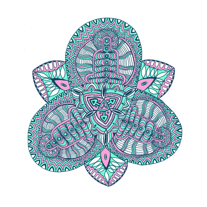 Trikvetr-mandala pink-mint version Women's V-Neck by ShadoBado Artist Shop