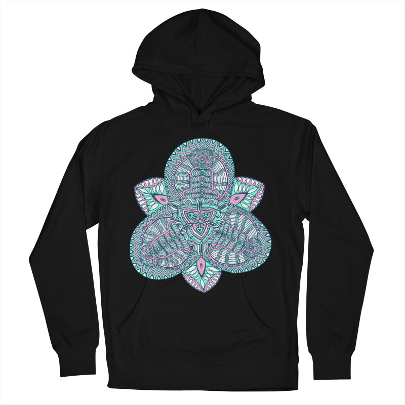 Trikvetr-mandala pink-mint version Women's French Terry Pullover Hoody by ShadoBado Artist Shop