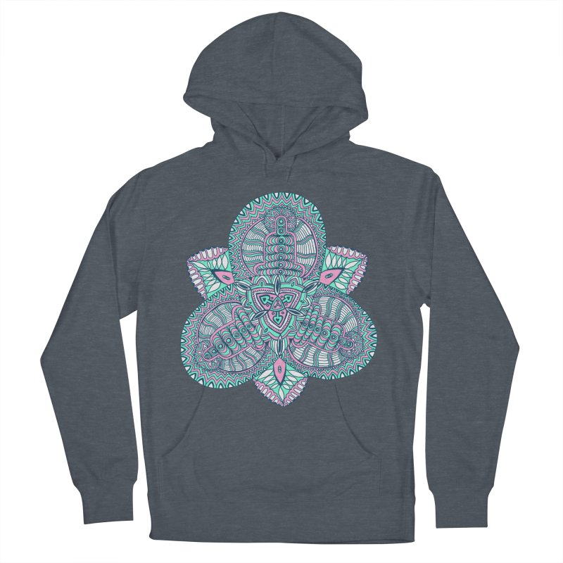 Trikvetr-mandala pink-mint version Men's French Terry Pullover Hoody by ShadoBado Artist Shop