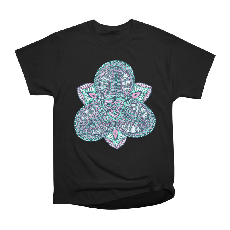 Trikvetr-mandala pink-mint version Men's Heavyweight T-Shirt by ShadoBado Artist Shop