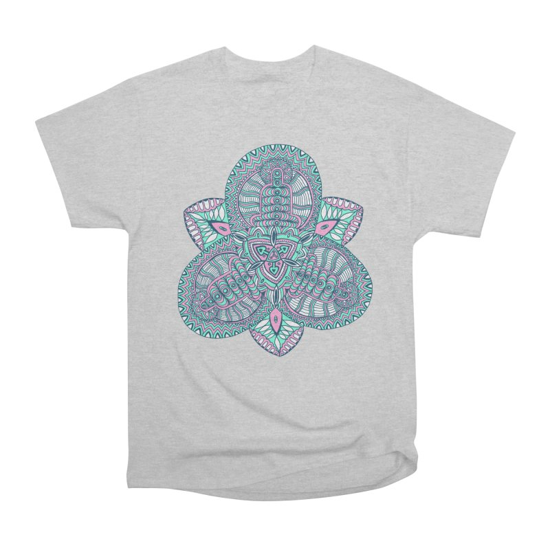 Trikvetr-mandala pink-mint version Men's Heavyweight T-Shirt by ShadoBado Artist Shop