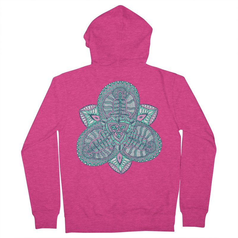 Trikvetr-mandala pink-mint version Women's French Terry Zip-Up Hoody by ShadoBado Artist Shop