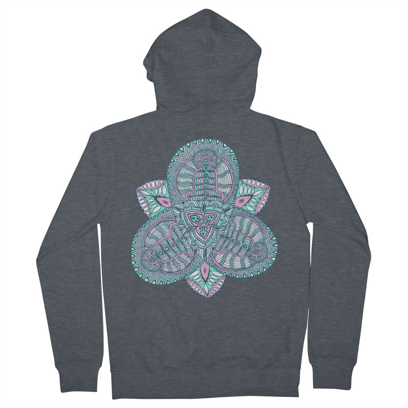 Trikvetr-mandala pink-mint version Men's French Terry Zip-Up Hoody by ShadoBado Artist Shop