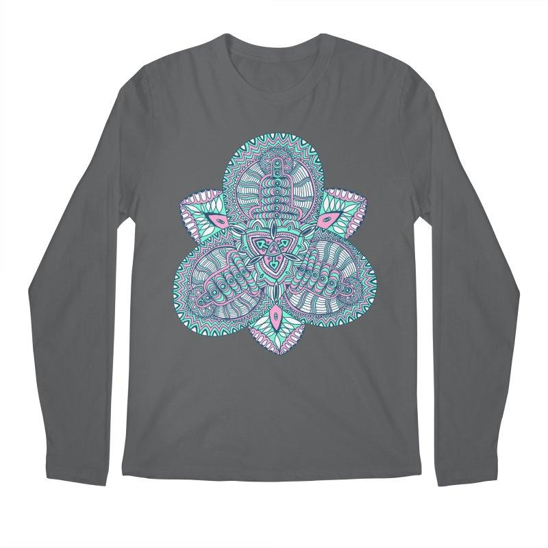 Trikvetr-mandala pink-mint version Men's Regular Longsleeve T-Shirt by ShadoBado Artist Shop
