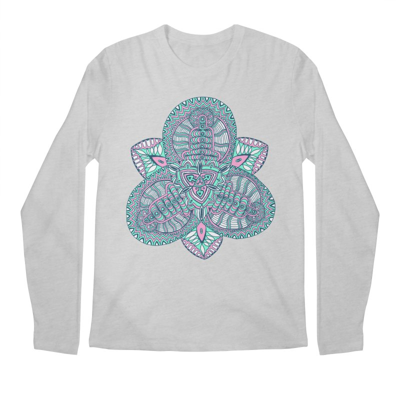 Trikvetr-mandala pink-mint version Men's Regular Longsleeve T-Shirt by ShadoBado Artist Shop