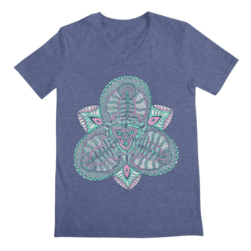 Trikvetr-mandala pink-mint version Men's Regular V-Neck by ShadoBado Artist Shop
